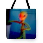 Alien In His Back Yard By The Pool Is Startled By Big Foot And Shrieks Like Schoolgirl Tote Bag