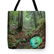 Alien In Redwood Forest Tote Bag