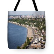 Alki Beach And Downtown Seattle Tote Bag