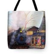 All Aboard At The New Hope Train Station Tote Bag