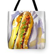 All Beef Ballpark Hot Dog With The Works To Go In Broad Daylight Tote Bag by Kip DeVore