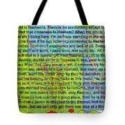 all the writing belongs to Hashem Tote Bag by David Baruch Wolk