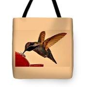 Allen Hummingbird In Flight At Feeder Tote Bag