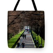 Alley Of Trees With Runners And Joggers Tote Bag
