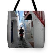 Alley Way In Mykonos Tote Bag
