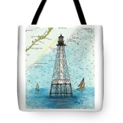 Alligator Reef Lighthouse Fl Keys Nautical Map Cathy Peek Tote Bag