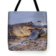 Alligator With A Fish Tote Bag