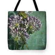 Allium Wildflower With Grunge Textures Tote Bag