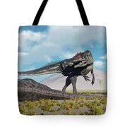 Allosaurus Dinosaurs Approaching Tote Bag