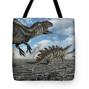 Allosaurus Dinosaurs Moving In To Kill Tote Bag