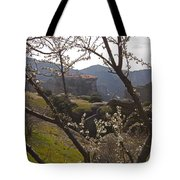Almond Tree And Monastery   #9815 Tote Bag