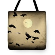 Almost Full Moon And Crows Tote Bag