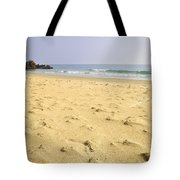 Alone At Bolonia Beach Tote Bag