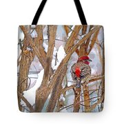 Alone In The Snow Storm Tote Bag