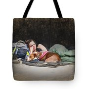 Alone With Her Dog Tote Bag
