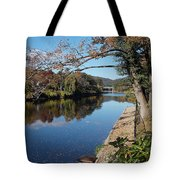 Along The River In Shelbourne Falls Tote Bag