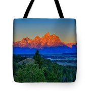 Alpenglow Across The Valley Tote Bag