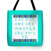 Alphabet Blue Tote Bag