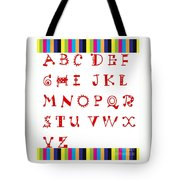 Alphabet With Multicolor Tote Bag