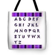 Alphabet With Purple Stripes Tote Bag