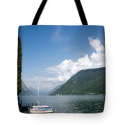 Alpine Lake With A Cypress Tree Tote Bag