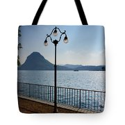 Alpine Lake With Street Lamp Tote Bag