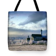 Alpine Scenery With Church In The Frosty Morning Tote Bag