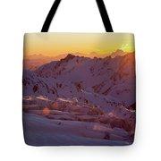 Alpine Sunset On High Alpine Glacier Tote Bag