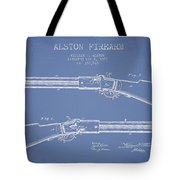 Alston Firearm Patent Drawing From 1887- Light Blue Tote Bag