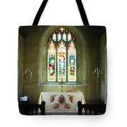 Altar And Stained Glass Window Nether Wallop Tote Bag