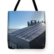 Aluminum Fishing Boat And Boots Drying On Fence Tote Bag