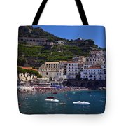 Amalfi Beach And Town Tote Bag