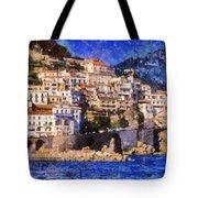 Amalfi Town In Italy Tote Bag