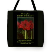 Amaryllis Flower Holiday Card Tote Bag