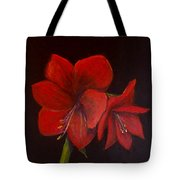 Amaryllis On Black Tote Bag