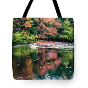 Amazing Fall Foliage Along A River In New England Tote Bag