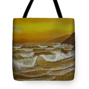 Amber Sunset Beach Seascape Tote Bag