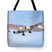 Amercian Airlines Boeing 757 Airplane Landing Tote Bag by Paul Velgos