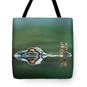 American Alligator And Butterfly Tote Bag