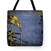 American Bittern With Brush Calligraphy Lingering Mind Tote Bag