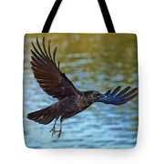 American Crow Flying Over Water Tote Bag