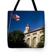 American Flag And Hoover Tower Stanford University Tote Bag