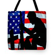 A Time To Remember American Flag At Rest Tote Bag