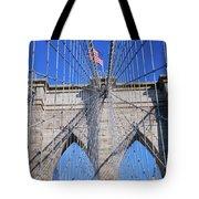 American Flag Flying Over Brooklyn Tote Bag
