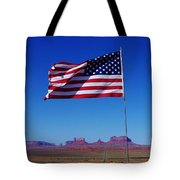 American Flag In Monument Valley Tote Bag