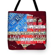 American Flag Map Of The United States In Vintage License Plates Tote Bag