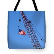 American Flag On Construction Crane Tote Bag