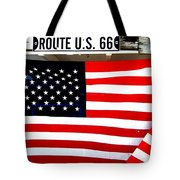 American Flag Route 66 Tote Bag