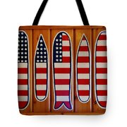 American Flag Surfboards Original Painting By Mark Lemmon Tote Bag
