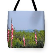 American Flags With Kennesaw Mountain In Background Tote Bag
